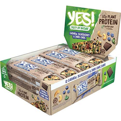 YES! Proteinriegel Cashew, Blaubeere und dunkle Schokolade, glutenfrei, 12er Pack (12 x 45g)