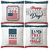 Set Of 4 Happy Independence Day Pillow Cover...