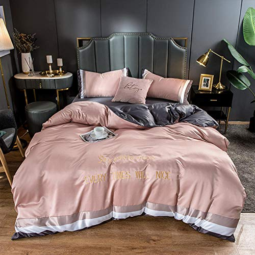 geek cook Bedding 4 Piece,2020 matching washed ice silk silk four-piece set bedding solid color letter embroidery embroidery kit-powder_1.5m bed sheet quilt cover 200 * 230