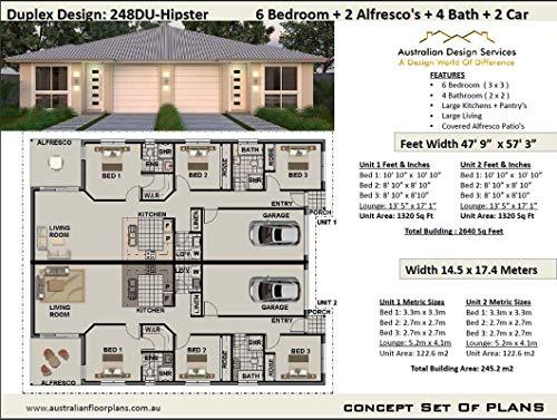 Amazon Com New Home Duplex Floor Plans Design 248du Hipster Full Architectural Concept Home Plans Includes Detailed Floor Plan And Elevation Plans Duplex Designs Floor Plans Book 2484 Ebook Morris Chris Services Australian Kindle
