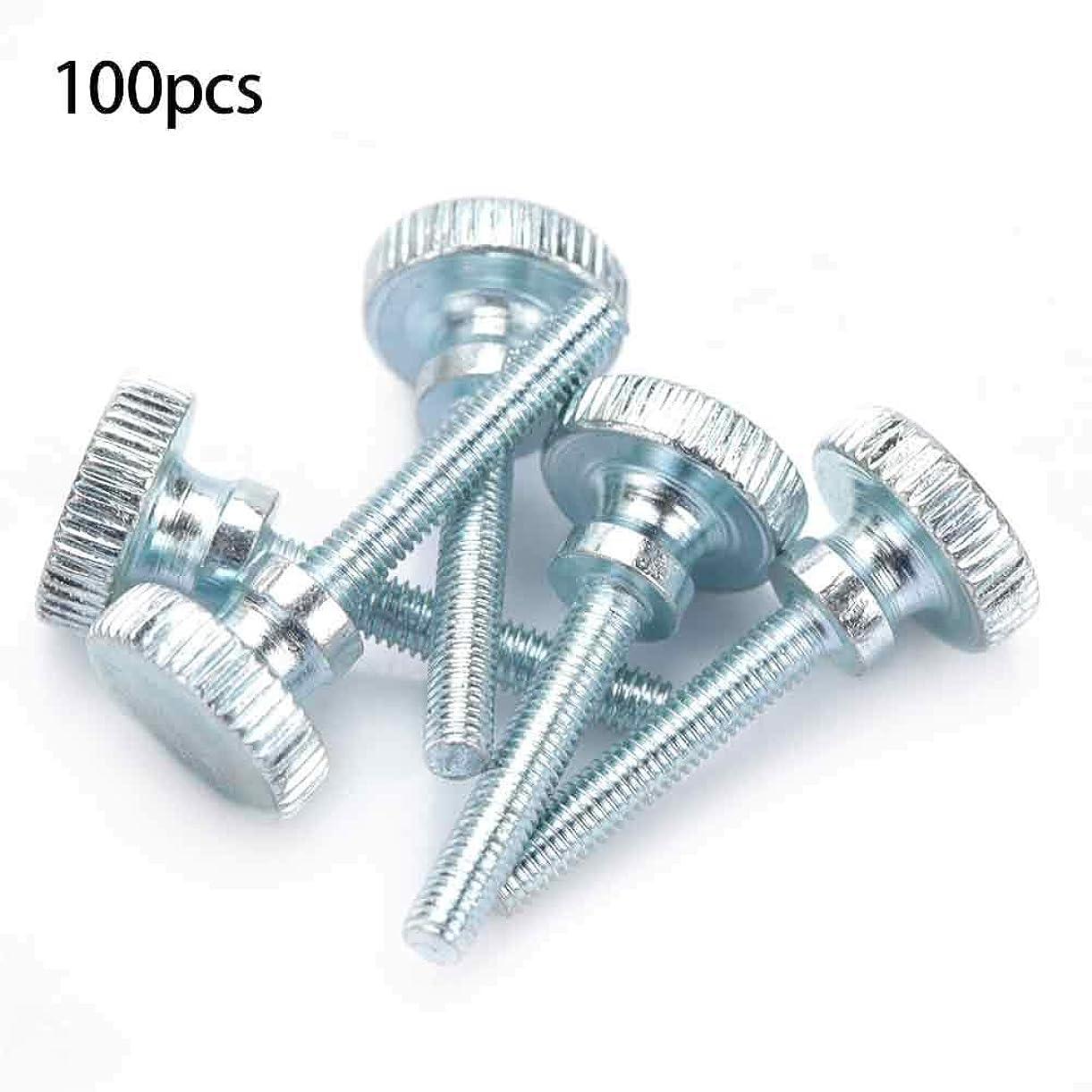 上陸抹消かき混ぜる100個ローレット頭ネジ、亜鉛メッキ炭素鋼調節可能な二重層ハンドルステップと蝶ネジ(M3×20(100個))
