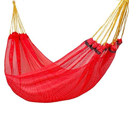 Hamaca de malla de seda de hielo para camping, para interiores, recámara, silla colgante para exteriores, adultos y niños, rojo