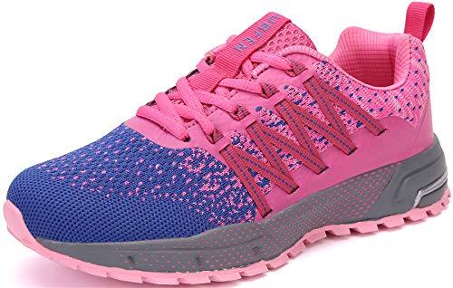 SOLLOMENSI Laufschuhe Damen Herren Sportschuhe Straßenlaufschuhe Sneaker Joggingschuhe Turnschuhe Walkingschuhe Schuhe 41 EU H Pink