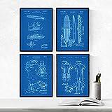 Nacnic Set 4 Stampe artistiche Sfondo Blu Brevetto Windsurf manifesti con invenzioni e Vecchi brevetti. Stampato su Carta da 250 Grammi di Alta qualità. Sport Acquatici ed equipaggiamento Tecnico.