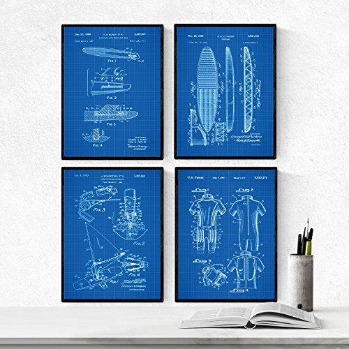 Nacnic Prints Vintage Patents Surfing - Set of 4-250g Paper - Beautiful Poster Painting for Home Office Living Room