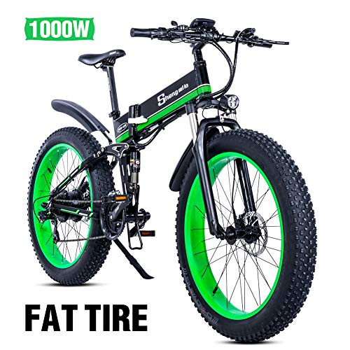 26 Pollici Fat Tire Electric Bike 1000W 48V Snow E-Bike Shimano 21 velocità Beach Cruiser Mens Women Mountain e-Bike Pedal Assist, Batteria al Litio Freni a Disco Idraulici