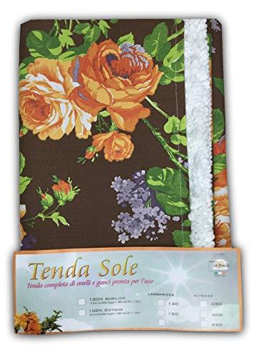 tex family Rideau Soleil pour extérieur Jardin Balcon Fleur Marron emballée Cm. 140x350