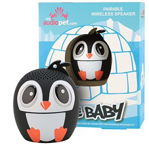 My Audio Pet Penguin Mini Bluetooth Animal Wireless Speaker for Kids of All Ages - true Wireless Stereo Technology - Pair with Another TWS Pet for Powerful Rich Room-Filling Sound - (ICE ICE Baby)