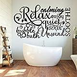 LKJHGU Bain moussant Roman Se détendre Mot Collage Verre Autocollants Salle de Bain Toilette Relax Toilette Toilette | Convient à la décoration d'autocollants muraux de Chambre de bébé