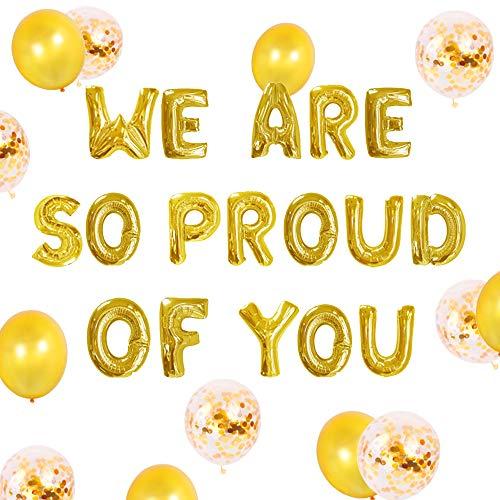 JeVenis Set di 11 Siamo molto orgogliosi di te Palloncino Palloncino Banner Congratulazioni Banner Decorazioni per feste di laurea
