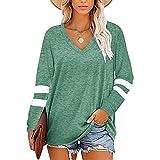 Camiseta Suelta de Las señoras, otoño Invierno Color sólido Cuello con Cuello en v Costura Mangas largas Camisas Casuales Blusa Camiseta Suelta Baggy Tops,Verde,M