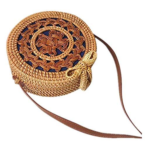 Dasongff Tasche, Rattan Tasche Rund Korbtasche Rund aus Stroh Sommer Korbtasche Crossbody Umhängetasche für Damen Hochwertige Qualität