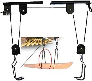 WGE Elevador de Kayak Almacenamiento Garaje Levantamiento de canoas 125 LB Capacidad Y Bicicleta Colgar en el Techo Almacenamiento Polea elevación de 45 LB de Capacidad,50KG