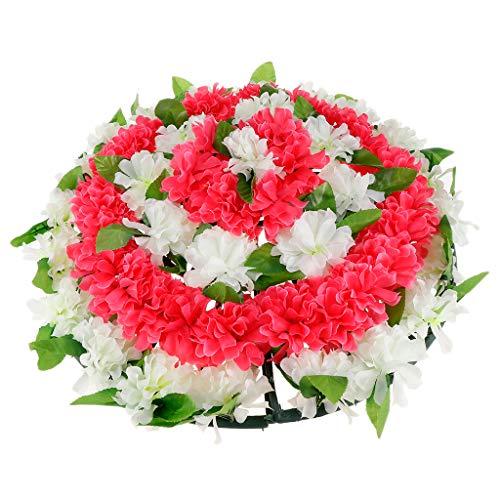 Chrysantheme Kranz Grabblumen Grabschmuck Dekoration für Totensonntag Allerheiligen und Trauerfeier, 52x6cm - 4