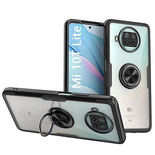 KONEE Hülle Kompatibel mit Xiaomi Mi 10T Lite 5G, Transparente Handyhülle Mit 360 ° Verdrehbare Ring [ TPU + PC ], für Magnetischen Autohalterungen, Multifunktions Abdeckung für Xiaomi Mi 10T Lite 5G