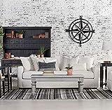 BAUPOR COMPASS - Brújula decorativa de pared de metal 3D, diseño de metal en 3D, para decoración de pared, para el hogar, oficina, dormitorio, sala de estar, decoración al aire libre (49 x 49 cm)