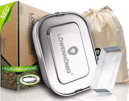 LÖWENKÖNIG® Premium Edelstahl Brotdose Auslaufsicher 1200ml + Trennwand & Beutel - Die Innovative&verbesserte Lunchbox ist kinderleicht zu Reinigen - Ideal für Kinder & Erwachsene