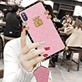 BABEMALL Compatible for iPhone 7 /iPhone 8 Case, Elegant Diamond Premium Metal Corner Square PU Leather Classic TPU Bumper Case + Lanyard (Small Cube/Pink,)