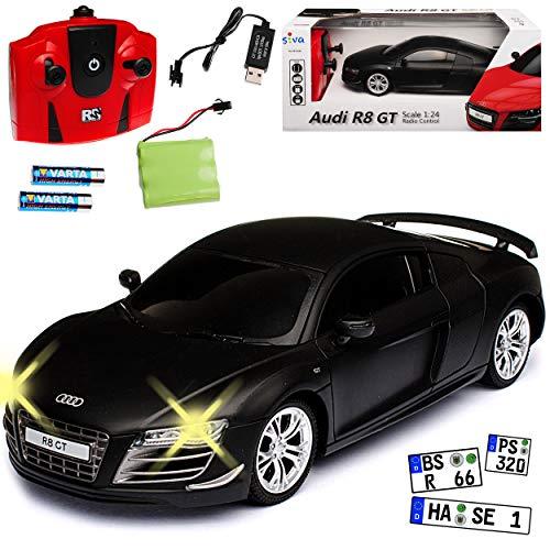 Siva A-U-D-I R8 GT Coupe Matt Schwarz 2,4 GHz RC Funkauto mit Beleuchtung und Akkupack 1/24 Modell Auto mit individiuellem Wunschkennzeichen
