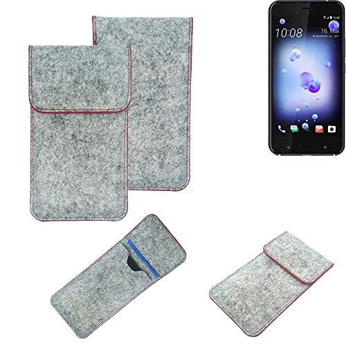 K-S-Trade Handy Schutz Hülle Für HTC U11 Dual-SIM Schutzhülle Handyhülle Filztasche Pouch Tasche Hülle Sleeve Filzhülle Hellgrau Roter Rand