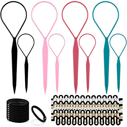 Topsy Hair Tail Tools Set,TsMADDTs Hair Braiding Tool Set 8 pcs Topsy Tail Tools 8 pcs French Centipede Braiders for French Twist Plait Ponytail 10 pcs Black Hair Ties Bulk