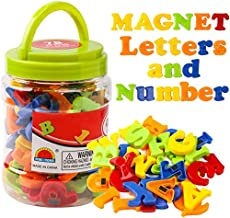 RAEQKS Magnetic Letters Numbers Alphabet ABC Colorful 123 Refrigerator Fridge Magnets for Vocabulary Educational Toy Set Preschool Learning Spelling Counting Game Uppercase Lowercase for Toddler Kids