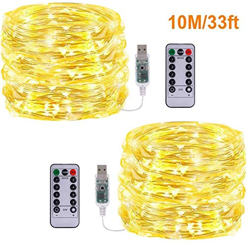 Fairy String Lights USB Powed,[2Pack 33Ft] Vikdio Waterproof Silver Wire Starry Lights 100 LEDs 8 Modes Fairy Rope Lights with Remote for DIY Wedding Party, Bedroom, Patio, Garden (WarmWhite)