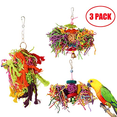 BWOGUE Bird Chewing Toys Parrot Cage Shredder Toy Foraging Hanging Toy for Cockatiel