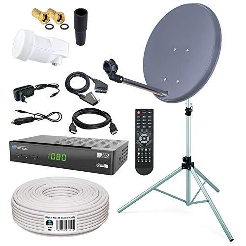 HB-DIGITAL Sat-Komplett-Set: Mini Sat Anlage 40cm Schüssel Anthrazit + LNB 0,1 + 10m Kabel + Receiver + Stahl Stativ 120cm für HDTV geeignet