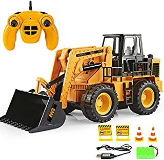 Remote Control Construction Toy Truck, Front Loader Tractor, RC Bulldozer, Alloy Shovel 2.4G, Truck Toys for 2,3,4,5,6,7,8,9 Year Old Boys and Up