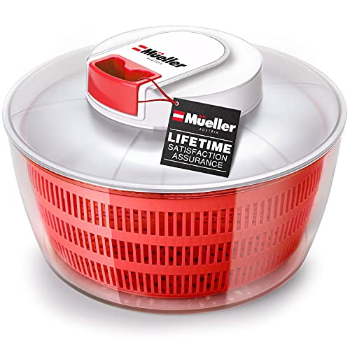 Mueller Salad Spinner with QuickChop Pull Chopper, Vegetable Washer with Bowl, Anti-Wobble Tech, Lockable Colander Basket and Lid with Pull Cord - Lettuce Washer and Dryer