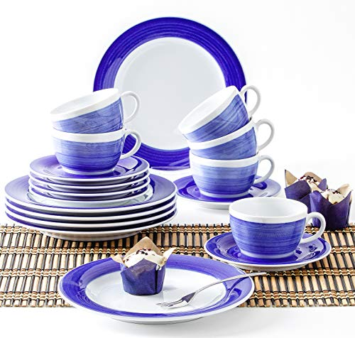 Kahla 570436O75004C Pronto wir Machen Blau! Kaffeeservice 18-teilig Porzellan 6 Personen Geschirrset blauweiß Kuchen Tee Frühstück
