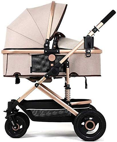 Lowest Prices! GPWDSN Pushchair Raincover, Baby Cart High Landscape Light Can Sit and Lie Down Fold Suspension Four Rounds Carriage Trolley Baby Cot