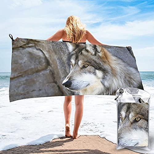mengmeng Toalla de secado rápido Wolf by the Rock, para deportes, gimnasio, viajes, yoga, camping, natación, súper absorbente, compacta, ligera, toalla de playa