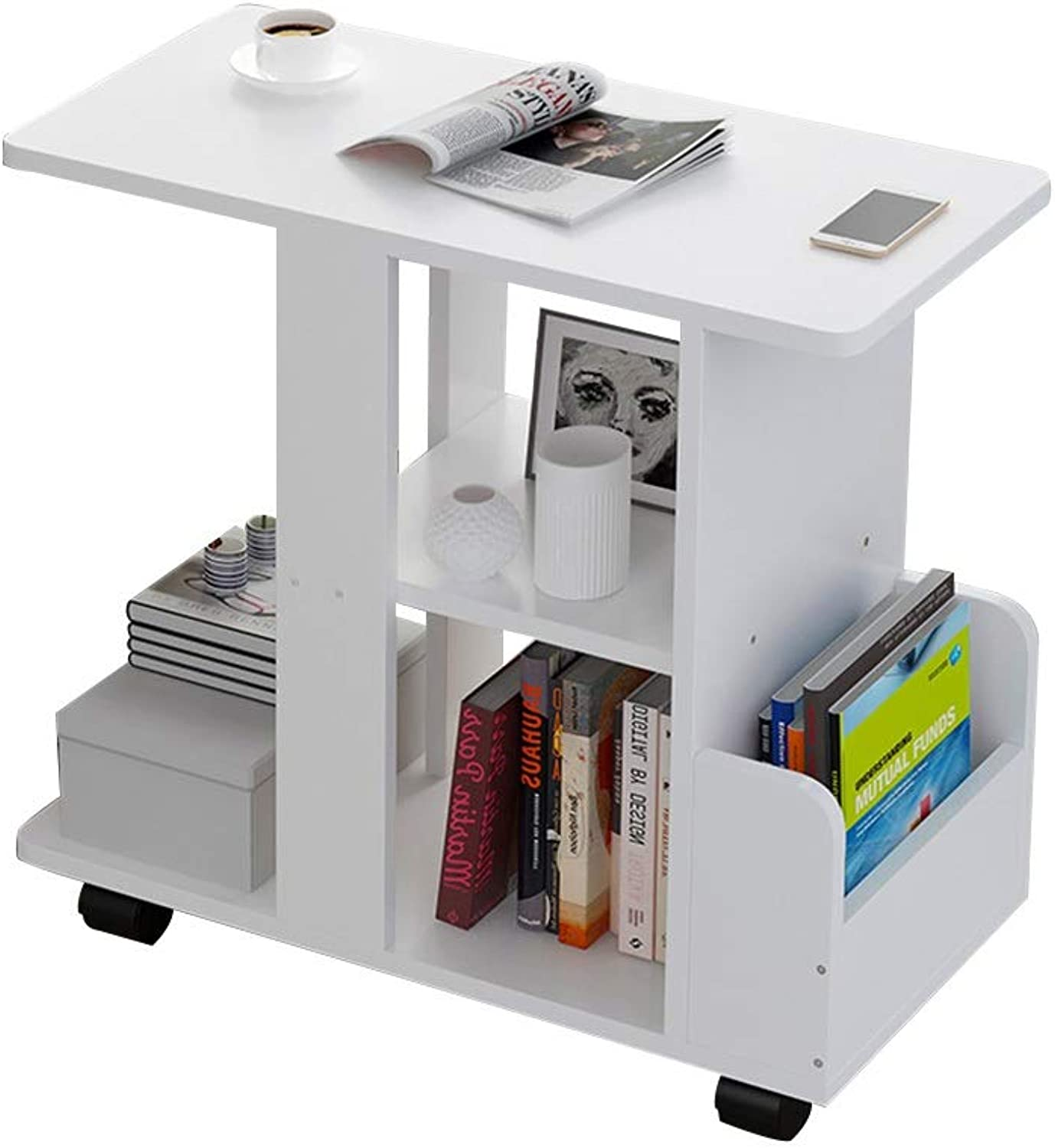Table Corner Table, Multifunction Double Open Storage Side Table Mobile Sofa Side Cabinet Small Table in Living Room Modern Simplicity Small Coffee Table (color   White)