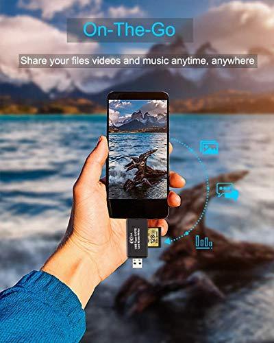 Hoonyer Speicherkartenleser SD/Micro SD Kartenleser USB 2.0 Adapter OTG 3 in 1 Kartenleser für SD/Micro SD/TF/SDHC/SDXC/MMC/Micro SDHC/Micro SDXC Karten,Samsung S10/S20, Huawei P40, MacBook usw