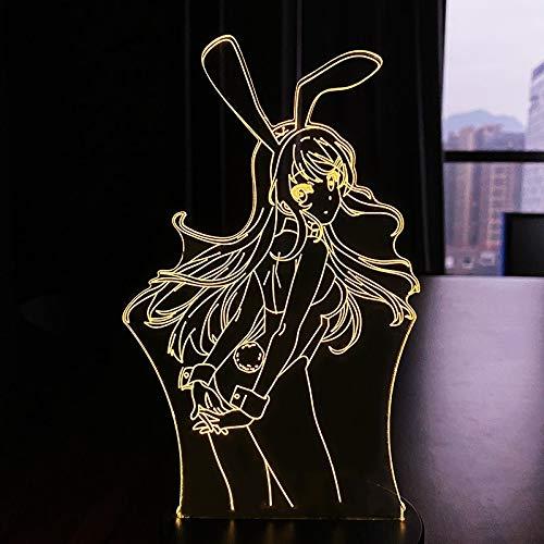 Conejito niña Led noche luz Mai luz regalo para amigo Sakurajima lámpara led anime regalo para decoración del dormitorio anime Waifu Mai Sakurajima