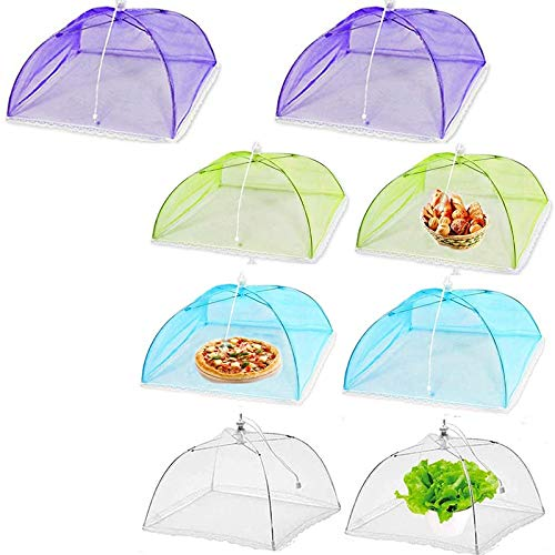 Dasing Food Cover Food Tent, 17 Inches Large -Up Mesh Food Cover, 8 Pack Colored Screen Tent Patio Bug Net for Outdoors