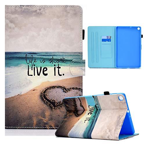 Funda para tablet Samsung Galaxy Tab A8 de 8,0 pulgadas (2019) T290 T295 Flip Cover Cuero Divertido Patrón Animal con Tarjetero - Love