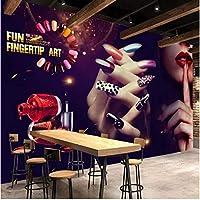 Iusasdz カスタム壁紙3D壁画Hdレトロメイクネイルアートツーリング壁リビングルーム寝室壁画レストラン壁紙-250X175Cm
