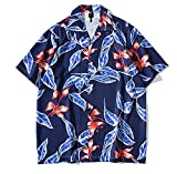 Men Summer Floral Printed Shirts Women's Button Down Beach Hawaiian Shirt Short Sleeve Casual Tops