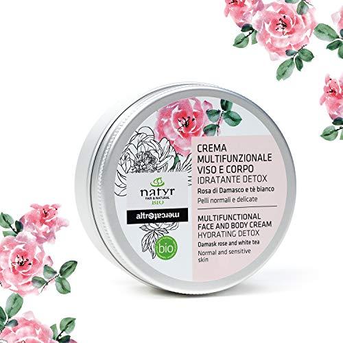 Natyr Bio Feuchtigkeits-Creme Rose mit Hyaluronsäure 150 ml - reine weiche Haut für Gesicht & Körper