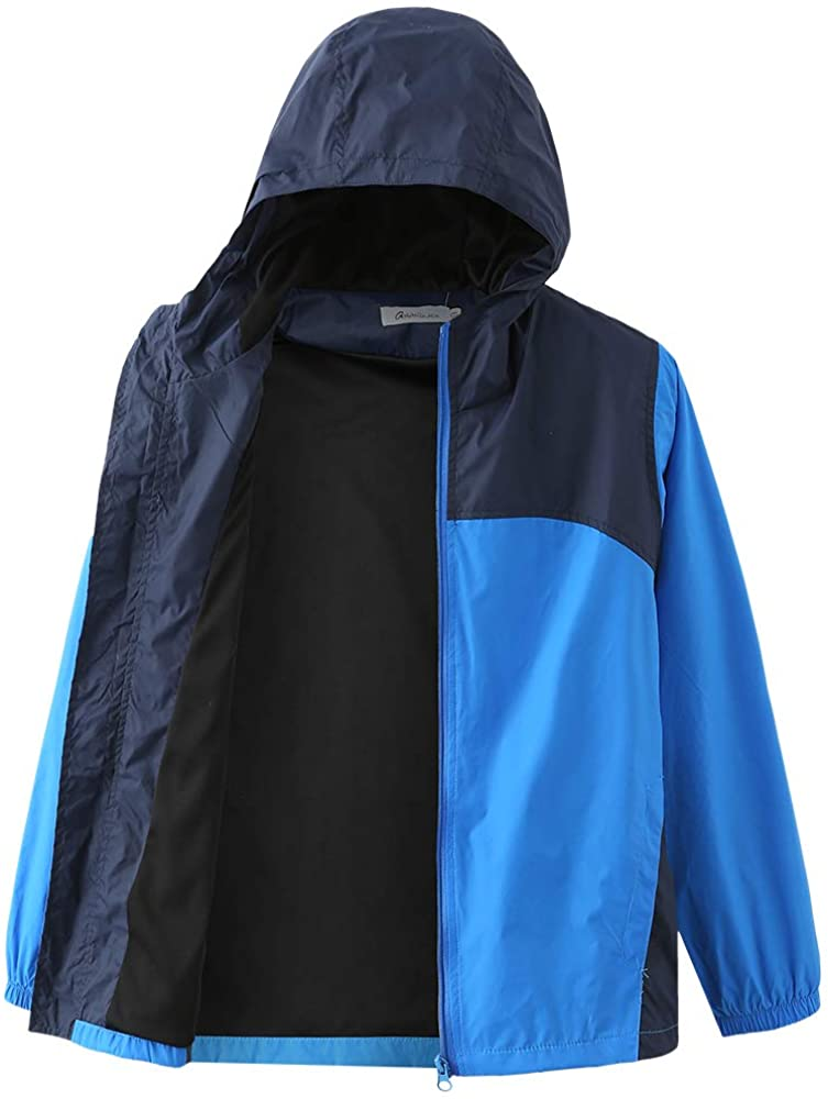 Boys Waterproof Rain Jacket, Lightweight Active Hooded Raincoat 6-14