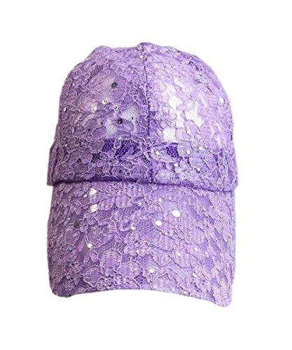 aesthetinc Classic Lace Glitter Sequin Baseball Cap Hat Bling Bling (Lavender)