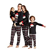 Yaffi Matching Family Pajamas Sets Christmas PJ's with Santa Hat Tee and Festival Style Pants Loungewear Kids: 3-4 Years Black