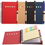 Maxdot 4 Pieces Kraft Paper Steno Pocket Business Notebook Spiral Lined Notepad Set with Pen in Holder, Sticky Colored Notes Page Marker Tabs (4 Colors Cover)