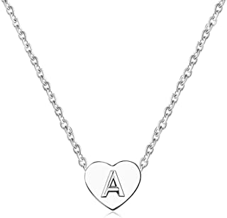 MiniJewelry A-Z Initial Choker Necklace for Women Tiny Love Heart Personalised Name Letter Silver Stainless Steel Necklace