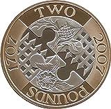 UK 2007 Act of Union 300th Anniversary £2 monedas a prueba de dos libras – dos libras con soporte para cápsulas de airtile en una bolsa cartera