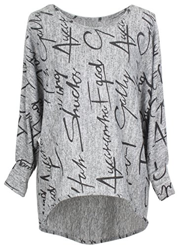 Emma & Giovanni - Pullover/Sweatshirt Oversize- Damen (2XL, Grau)