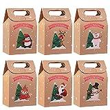 LUOWAN 24 Pieces Cajas de Regalo Navidad Bolsa de Regalo Navidad Cajas de Kraft Bolsas de Papel de Caramelo Caja de Papel de Navidad para Fiesta Dulces Galletas Chocolates Decoración de Regalos